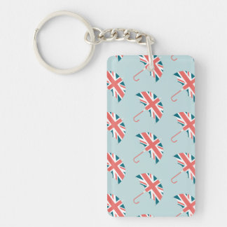 British Flag Umbrella Pattern Double-Sided Rectangular Acrylic Key Ring