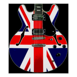 British Flag Union Jack Guitar Poster