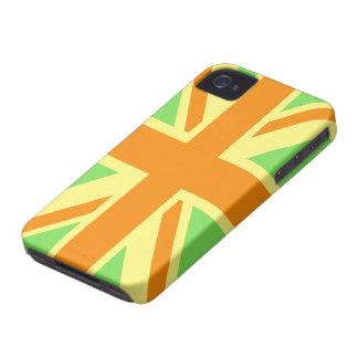 British Flag (Union Jack) in Green & Orange iphone Case-Mate iPhone 4 Cases