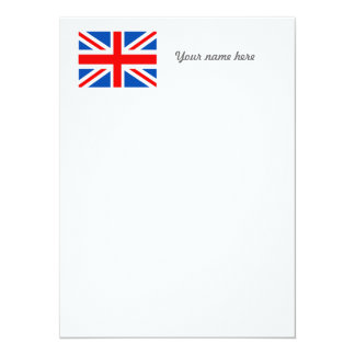 British flag, various gifts 14 cm x 19 cm invitation card
