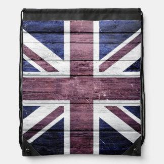 British Flag Vintage Wood Cinch Bags