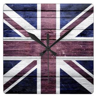 British Flag Vintage Wood Square Wall Clock