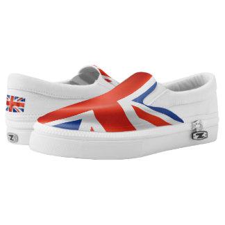 british flag white shoes printed shoes