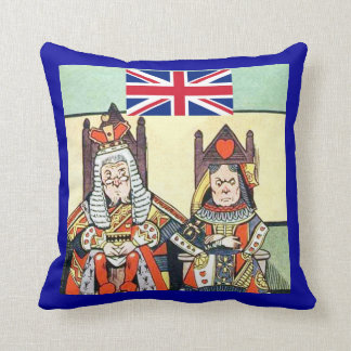 British Flag with King & Queen American MoJo Pillo Throw Cushions