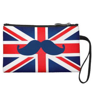 British Flag with mustache Clutch Wristlet Clutches