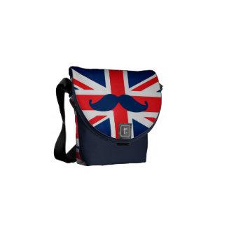 British Flag with mustache Messenger Bag