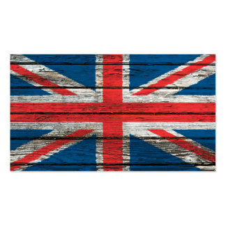 British Flag with Rough Wood Grain Effect Business Card