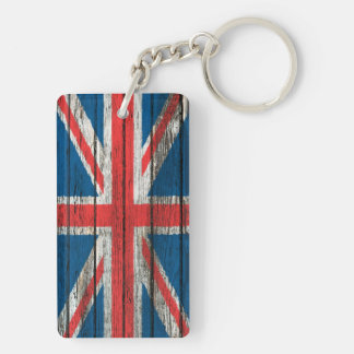 British Flag with Rough Wood Grain Effect Double-Sided Rectangular Acrylic Key Ring