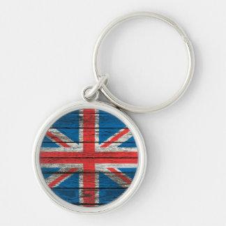 British Flag with Rough Wood Grain Effect Key Chain
