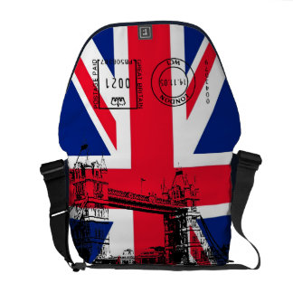 British Flag with Tower Bridge and Stamp Messenger Commuter Bags