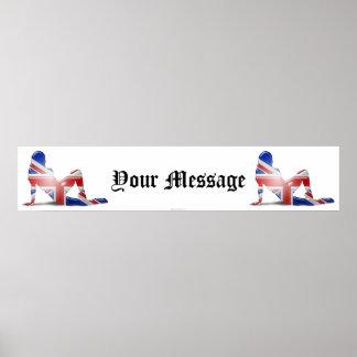 British Girl Silhouette Flag Banner Poster