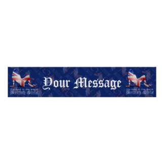 British Girl Silhouette Flag Banner Posters