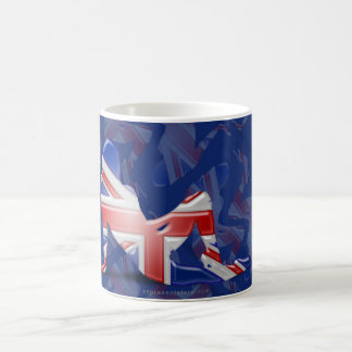 British Girl Silhouette Flag Basic White Mug