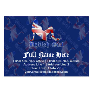 British Girl Silhouette Flag Business Card