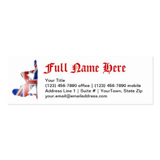 British Girl Silhouette Flag Business Card Templates