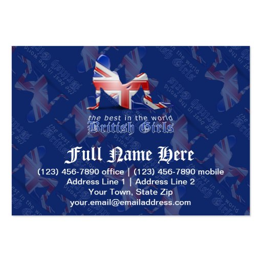 British Girl Silhouette Flag Business Card Template
