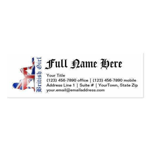 British Girl Silhouette Flag Business Cards