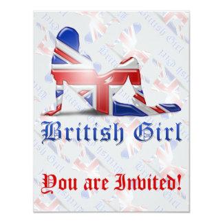 British Girl Silhouette Flag Card