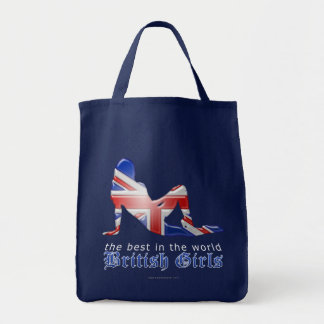 British Girl Silhouette Flag Grocery Tote Bag