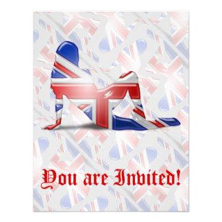 British Girl Silhouette Flag Invites