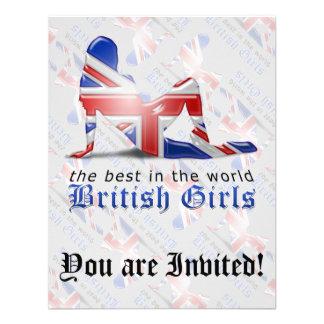 British Girl Silhouette Flag Custom Invitations