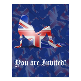 British Girl Silhouette Flag Personalized Announcement