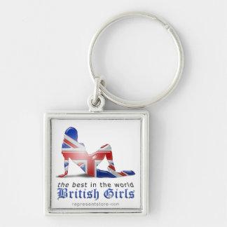British Girl Silhouette Flag Key Chain