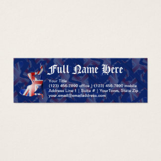 British Girl Silhouette Flag Mini Business Card