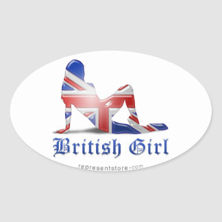 British Girl Silhouette Flag Oval Sticker