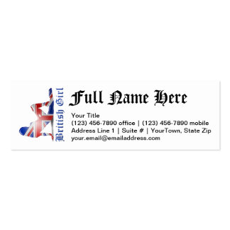British Girl Silhouette Flag Pack Of Skinny Business Cards