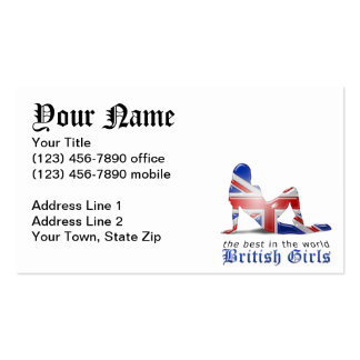 British Girl Silhouette Flag Pack Of Standard Business Cards