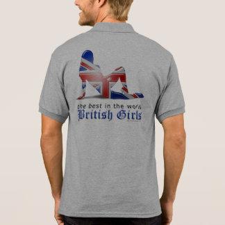 British Girl Silhouette Flag Polo Shirts