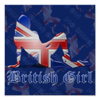 British Girl Silhouette Flag Posters