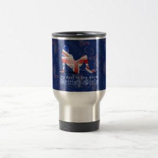 British Girl Silhouette Flag Stainless Steel Travel Mug