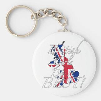British Girls Do It Best! Basic Round Button Key Ring