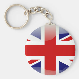 British glossy flag basic round button key ring