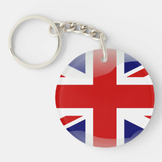 British glossy flag Single-Sided round acrylic key ring