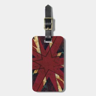 British grunge Union Jack themed star Luggage Tag