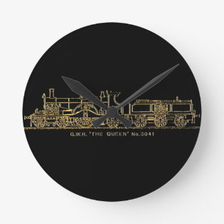 "British GWR Steam Train,""The Queen"",3041, Black Round Clock"
