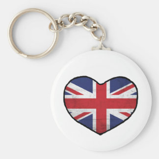 British Heart Basic Round Button Key Ring