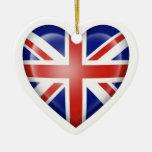 British Heart Flag on White Christmas Ornaments