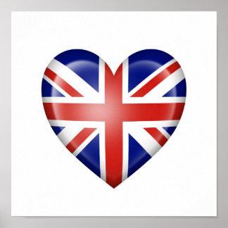 British Heart Flag on White Poster