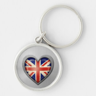 British Heart Flag Stainless Steel Effect Key Chains