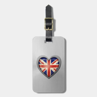 British Heart Flag Stainless Steel Effect Luggage Tag