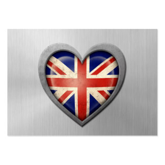 British Heart Flag Stainless Steel Effect Pack Of Chubby Business Cards