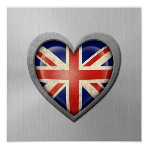 British Heart Flag Stainless Steel Effect Print