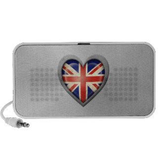 British Heart Flag Stainless Steel Effect Mini Speakers