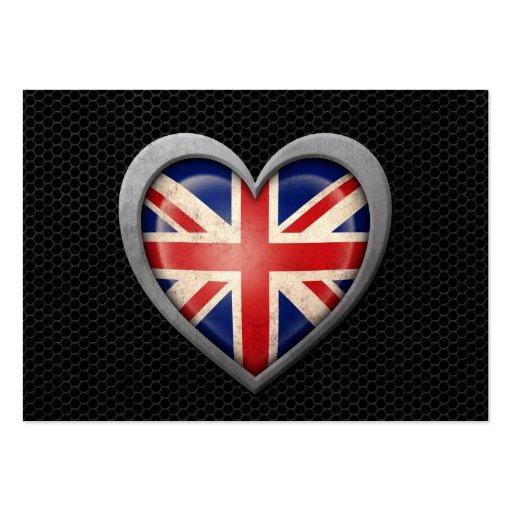 British Heart Flag Steel Mesh Effect Business Card Templates