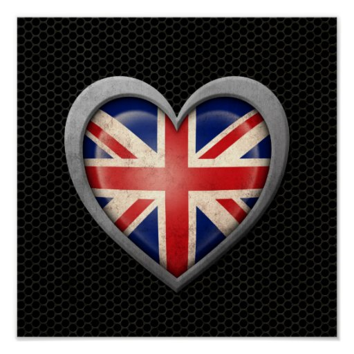 British Heart Flag Steel Mesh Effect Poster