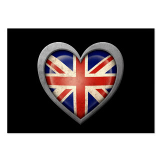 British Heart Flag with Metal Effect Business Card Templates